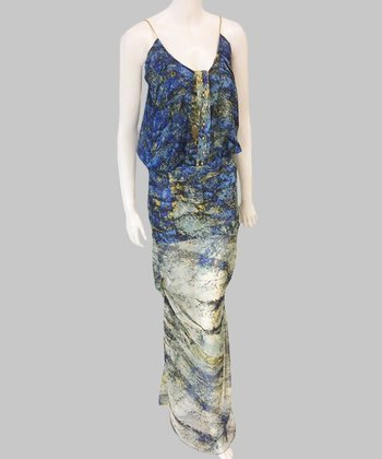 Blue & Moss Green Silk Maxi Dress