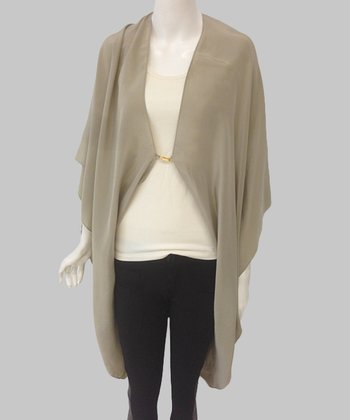 Olive & Rust Ombré Silk Wrap Top
