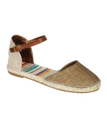 Brown Buckle Flat Espadrille Sandal