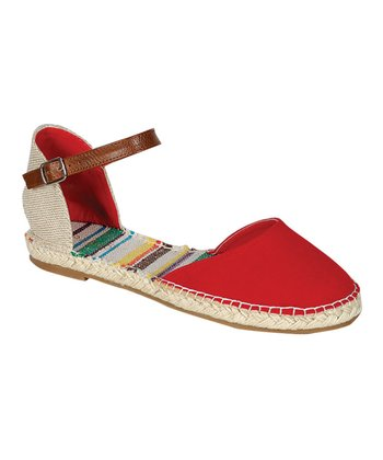 Red Buckle Flat Espadrille Sandal