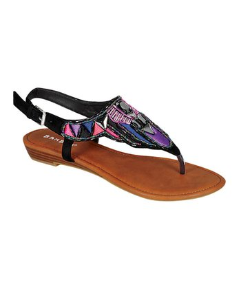 Purple & Black Beaded Sandal