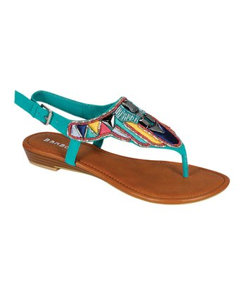 Turquoise & Black Beaded Sandal