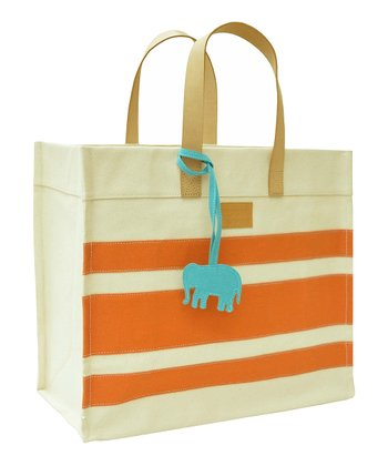 Orange Stripe Market Tote