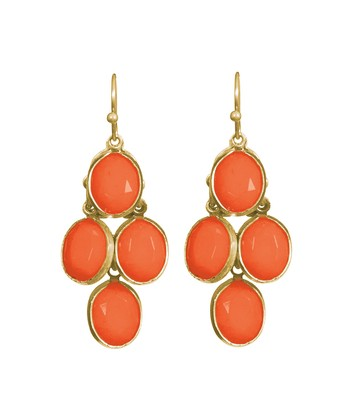 Coral & Gold Pippin Drop Earrings