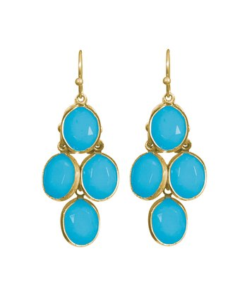 Turquoise & Gold Pippin Drop Earrings