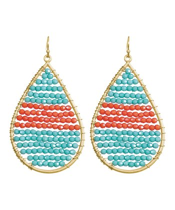 Turquoise & Coral Olivia Teardrop Earrings