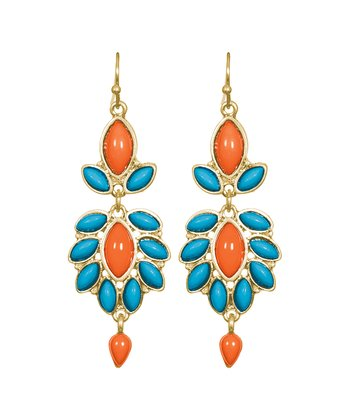 Turquoise & Coral Walker Chandelier Earrings