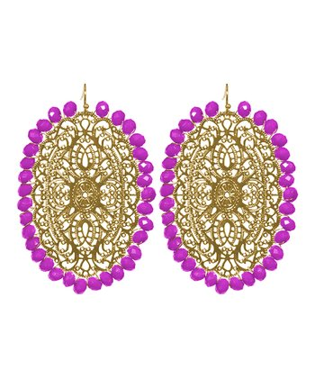 Gold & Raspberry Harper Earrings
