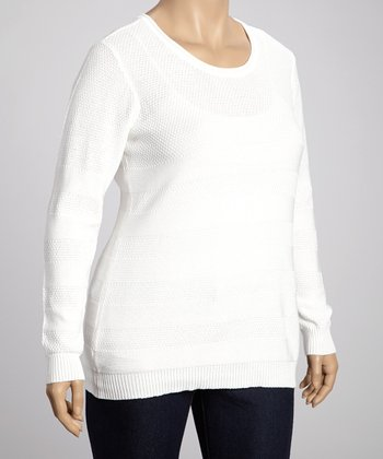 Off-White Scoop Neck Sweater - Plus