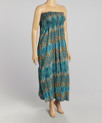 Turquoise Zigzag Strapless Maxi Dress - Plus