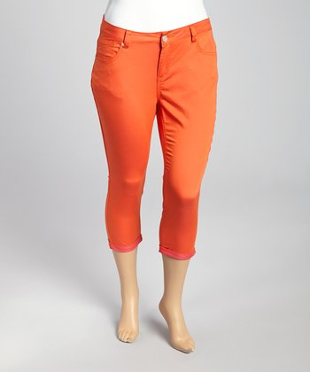 Guava Orange & Pink Pulse Capri Pants - Plus