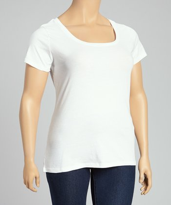 White Scoop Neck Tee - Plus
