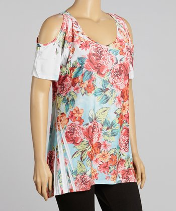 Rose & Ivory Sublimation Cutout Tunic - Plus