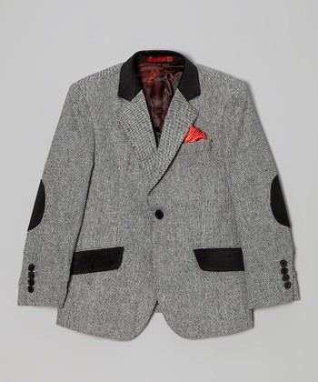 Light Gray Wool-Blend Blazer & Red Pocket Square - Boys