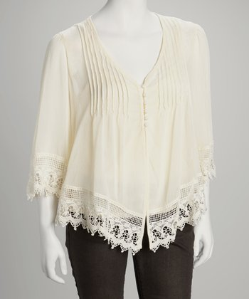 Natural Crocheted Button-Up