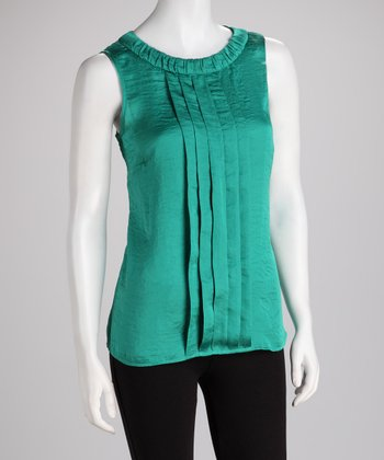 ADIVA Emerald Pleated Sleeveless Top
