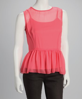 Coral Sheer Peplum Top
