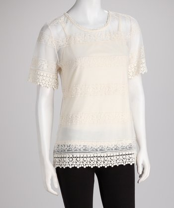 ADIVA Natural Lace Sheer Short-Sleeve Top