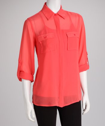 ADIVA Tangerine Sheer Corallina Button-Up Top