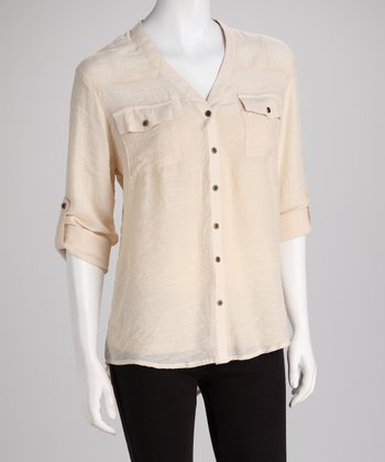 ADIVA Natural Button-Up Top