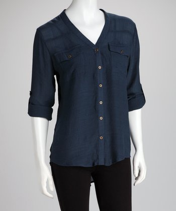 ADIVA Blue Night Watch Button-Up Top