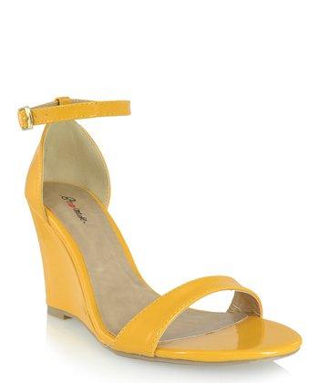Shoe Republic LA Mustard Hazell Ankle-Strap Wedge Sandal