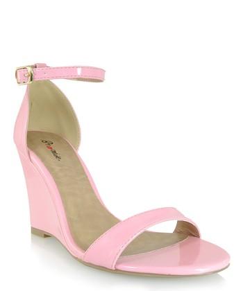 Shoe Republic LA Pink Hazell Ankle-Strap Wedge Sandal