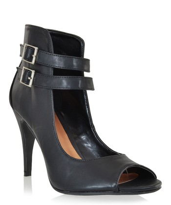 Black Edmanda Peep-Toe Pump