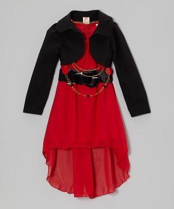 Red Hi-Low Dress Set - Girls