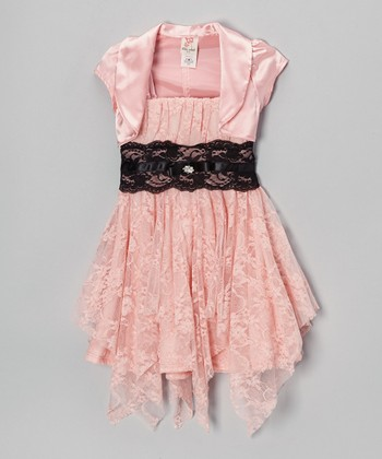 Peach Handkerchief Dress & Shrug - Toddler & Girls