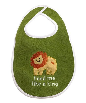 Green 'Feed Me Like a King' Lion Bib