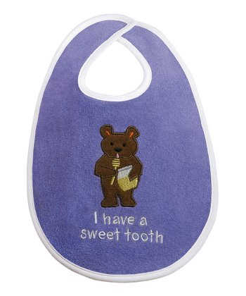 Purple 'I Have a Sweet Tooth' Honey Bear Bib