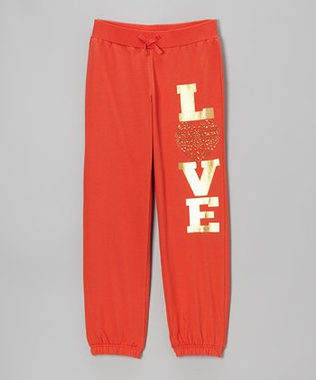 Hot Coral Foil 'Love' Sweatpants