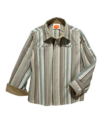 Brown Stripe Dandy Long-Sleeve Button-Up - Toddler