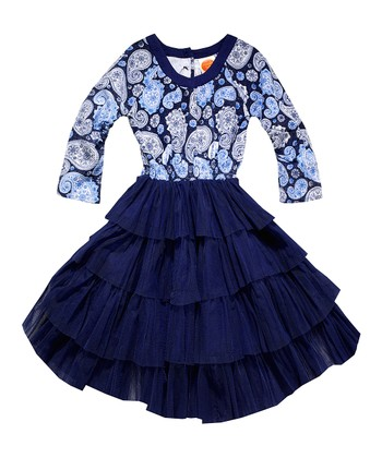 Navy Paisley Tulle Dress - Toddler & Girls