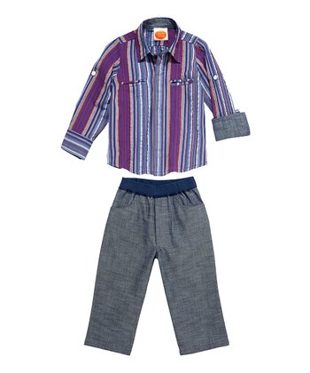 Blue Stripe Button-Up & Pants - Infant