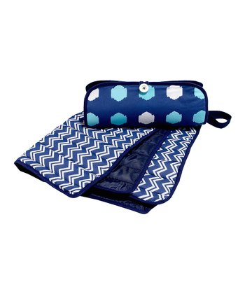 Masala Baby Navy Blue Zigzag Diaper Clutch & Changing Pad