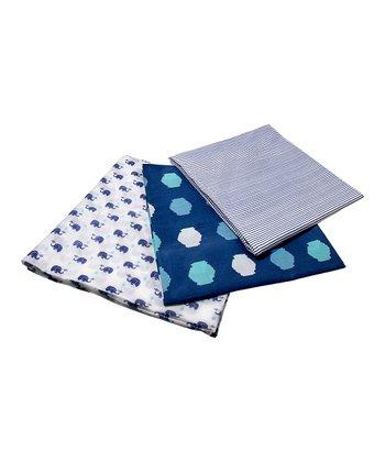 Masala Baby Navy Blue Elephant Swaddle Wrap Set