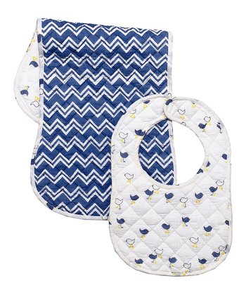 Navy Blue Chick Bib & Burp Cloth