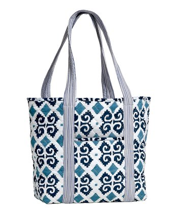 Masala Baby Navy Blue Ikat Quilted Tote