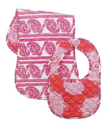 Masala Baby Pink Kolam Bib & Burp Cloth