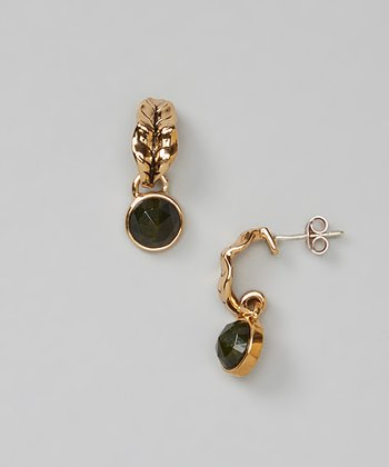 Bronze & Green Amber Faceted Drop Stud Earrings