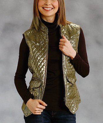 Gold Quilted Zip-Up Vest - Women & Plus