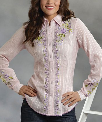 Pink Floral Stripe Button-Up - Women & Plus
