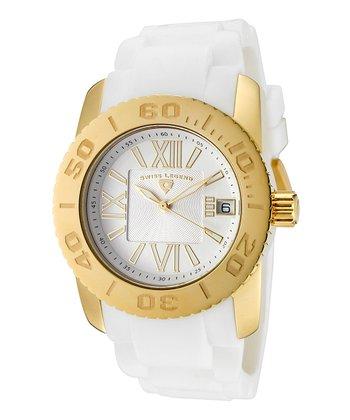 White & Gold Commander Watch - Women