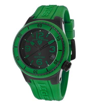 Black & Green Neptune Watch - Women