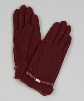 Red Wool-Blend Gloves
