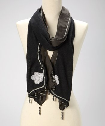 Black Beaded Floral Scarf