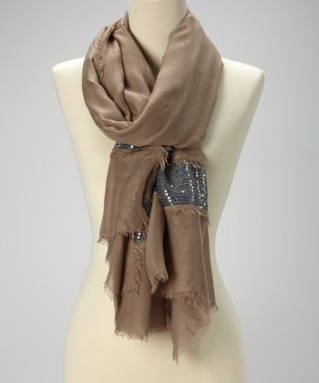 Brown & Silver Sequin Raw-Edge Scarf