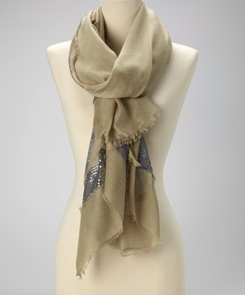Sage & Silver Sequin Raw-Edge Scarf